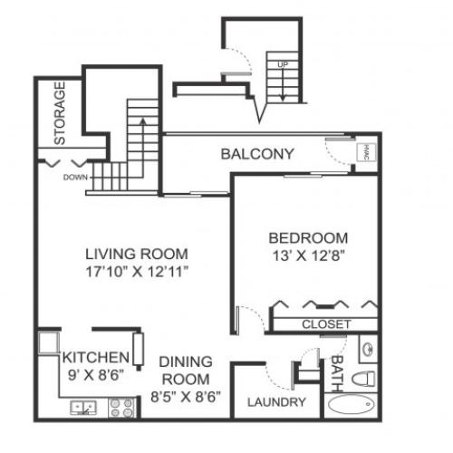 One bedroom one bathroom A2 floorplan at Arbor Landings Apartments in Ann Arbor, MI