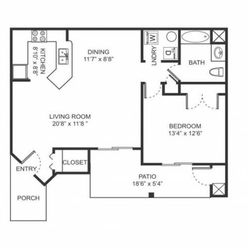 One bedroom one bathroom A3 floorplan at Arbor Landings Apartments in Ann Arbor, MI