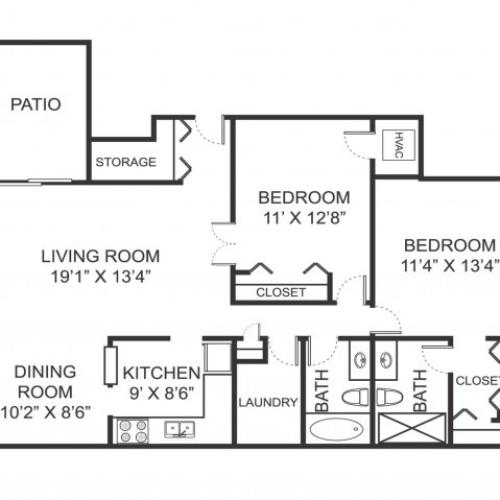 Two bedroom two bathroom B1 floorplan at Arbor Landings Apartments in Ann Arbor, MI