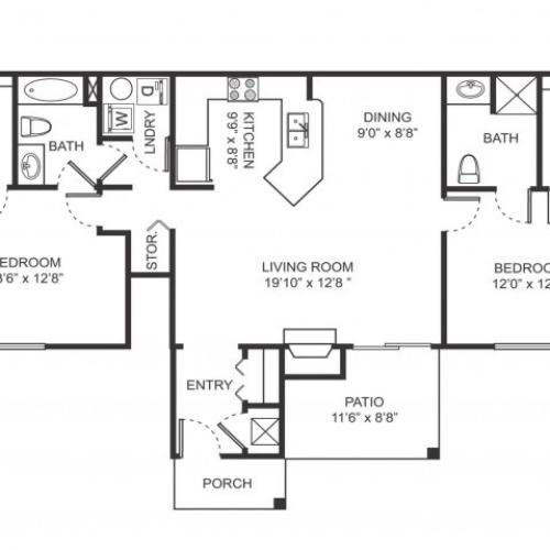 Two bedroom two bathroom B3 floorplan at Arbor Landings Apartments in Ann Arbor, MI