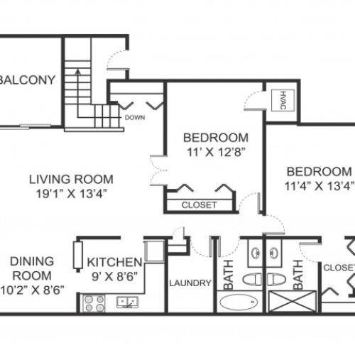 Two bedroom two bathroom B4 floorplan at Arbor Landings Apartments in Ann Arbor, MI