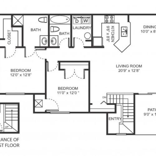 Two bedroom two bathroom B6 floorplan at Arbor Landings Apartments in Ann Arbor, MI