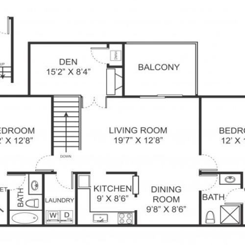 Two bedroom two bathroom B7D floorplan at Arbor Landings Apartments in Ann Arbor, MI