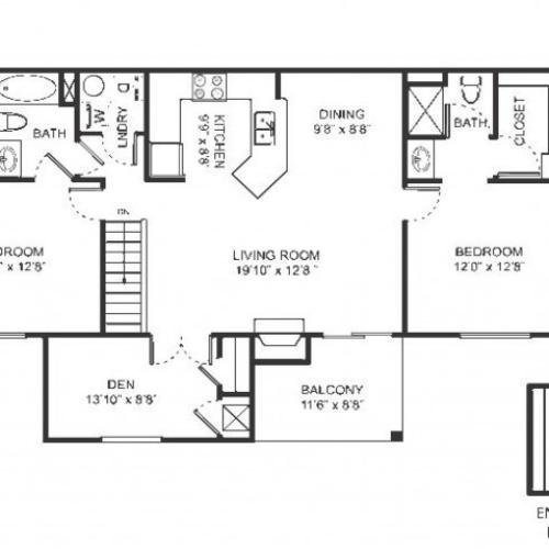 Three bedroom two bathroom C1 floorplan at Arbor Landings Apartments in Ann Arbor, MI