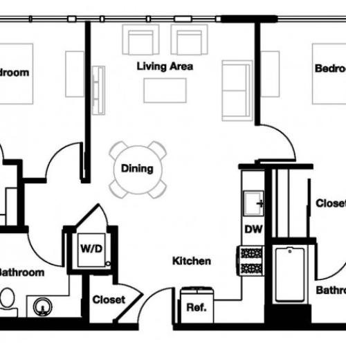 Two bedroom two bathroom B1A Floorplan at L Seven Apartments in San Francisco, CA