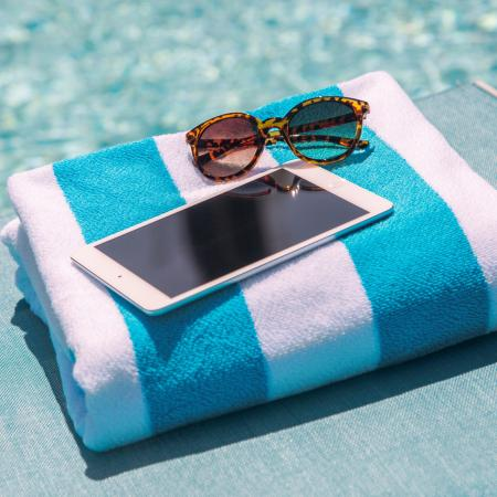 Unwind poolside after a refreshing swim with our poolside Wi-Fi at Dwell Vienna Metro Apartments in Fairfax, VA