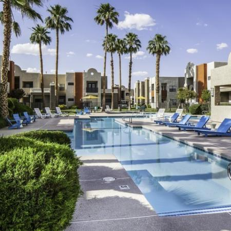 Pool and sundeck at Helix Apartments in Las Vegas, NV