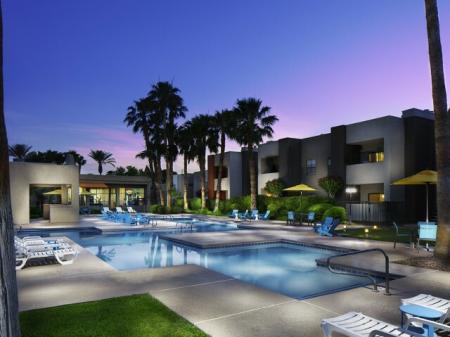 Pool at night at Helix Apartments in Las Vegas NV