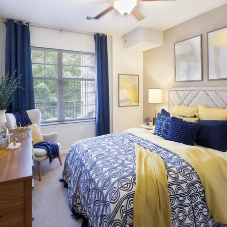 Sleep in style in our spacious bedrooms at Dwell Vienna Metro Apartments in Fairfax, VA