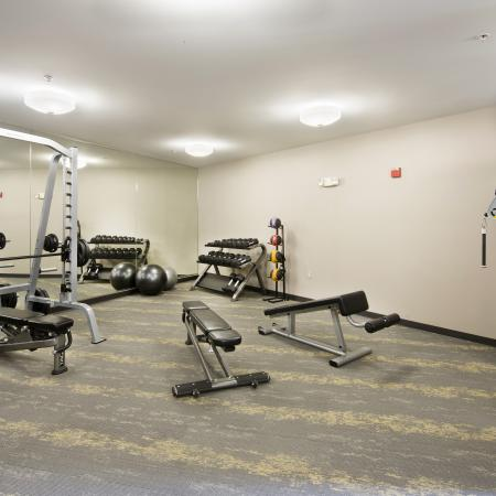 There's no excuse to skip your morning workout with a resident fitness center on site!