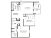 2 bedroom 1 bathroom apartment B1 floor plan at Brynwood Apartments in San Antonio, TX