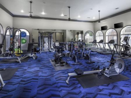 24-hour fitness center at The Brixton Apartments in Dallas, TX