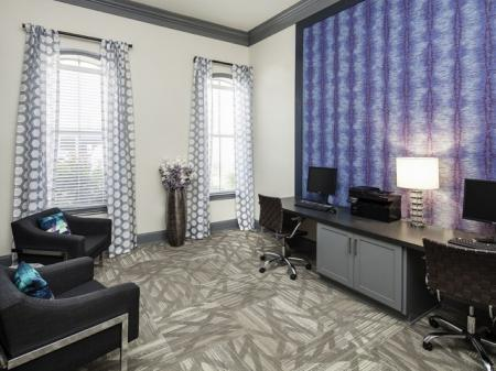 Resident business center at The Brixton Apartments in Dallas, TX