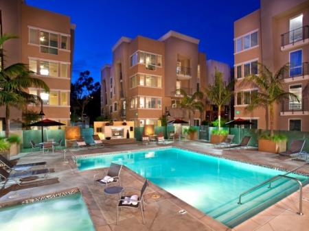 Pool and spa at Alterra at Grossmont Trolley Apartments in La Mesa, CA