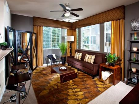 Two bedroom living area at Alterra at Grossmont Trolley Apartments in La Mesa, CA