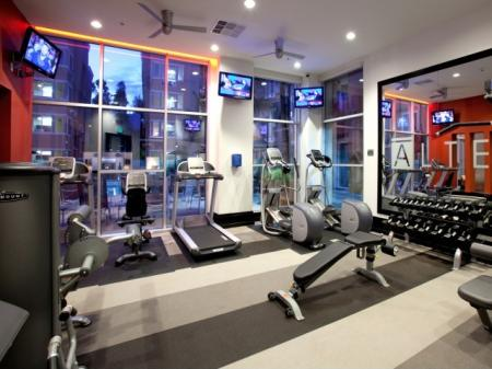 Fitness center at Alterra at Grossmont Trolley Apartments in La Mesa, CA