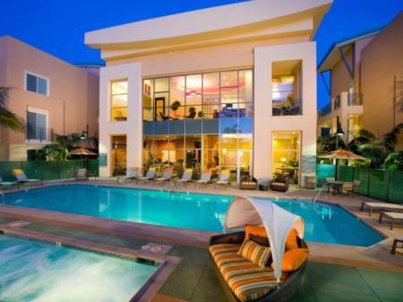Pool at Night at Pravada Apartments in La Mesa CA