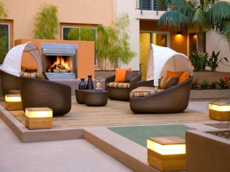 Fire Lounge at Pravada at Grossmont Trolley Apartments in La Mesa CA