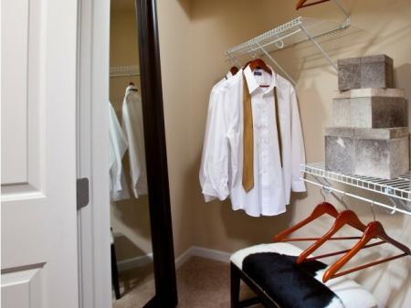 Walk in closet at Alterra at Grossmont Trolley Apartments in La Mesa CA