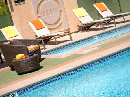 Pool at Pravada at Grossmont Trolley Apartments in La Mesa CA