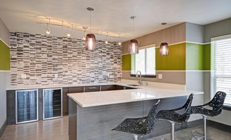 Clubhouse kitchen at Beacon at Center Apartments in Everett WA