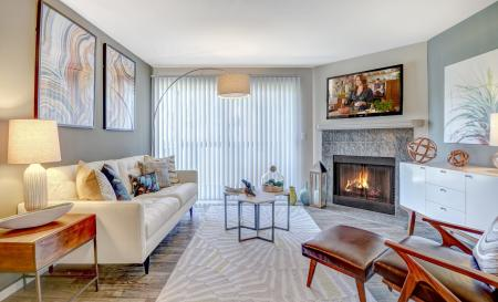 Living room at Beacon at Center Apartments in Everett WA
