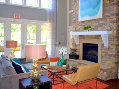 Clubhouse with fireplace at Southpoint Village Apartments in Durham, NC
