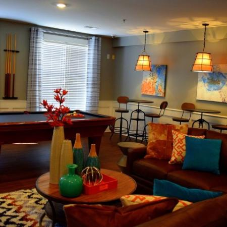Pool tables in clubhouse at Southpoint Village Apartments in Durham, NC