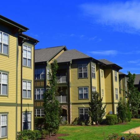 Walkway with benches at Southpoint Village Apartments in Durham, NC