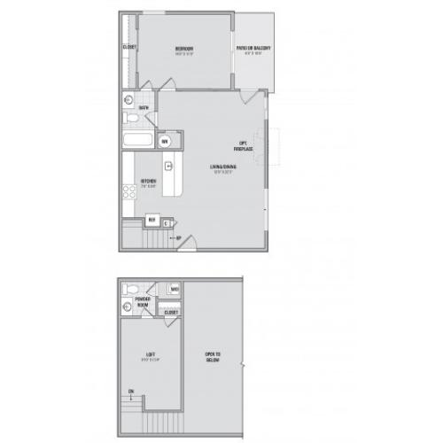 A2L 1 bedroom 1.5 bathroom floorplan at Adler at Waters Landing in Germantown, MD