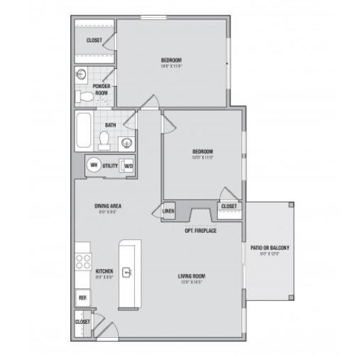 B2 2 bedroom 1.5 bathroom floorplan at Adler at Waters Landing in Germantown, MD