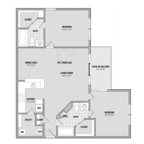 B3 2 bedroom 2 bathroom floorplan at Adler at Waters Landing in Germantown, MD