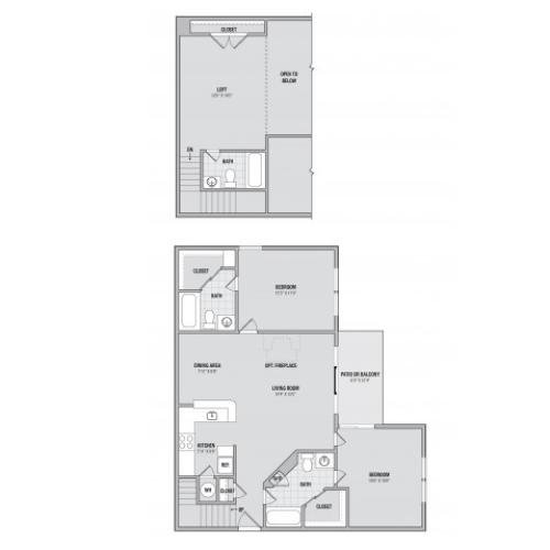 B5L 2 bedroom 3 bathroom floorplan at Adler at Waters Landing in Germantown, MD
