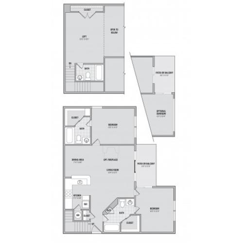 B6LS 2 bedroom 3 bathroom loft and sunroom floorplan at Adler at Waters Landing in Germantown, MD