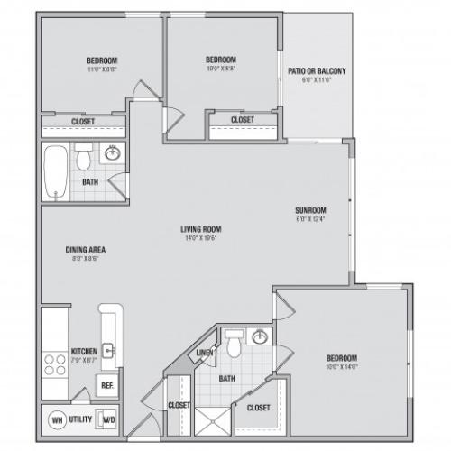 C1 3 bedroom 2 bathroom floorplan at Adler at Waters Landing in Germantown, MD