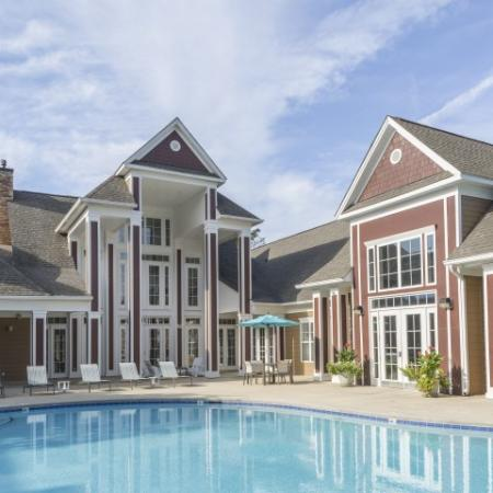 Pool and clubhouse Park at Crossroads Apartments in Cary, NC