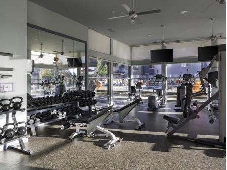 Fitness center at Talavera Apartments in Denver, CO
