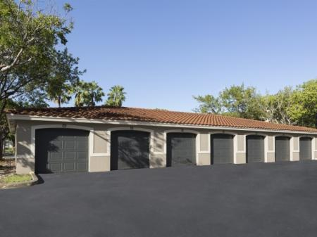 Detached garages at Marela apartments in Pembroke Pines, Florida