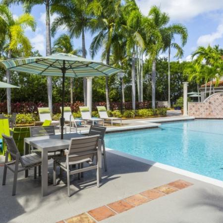 Relax under an umbrella at Marela apartments in Pembroke Pines, Florida