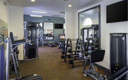 Fitness center weight machines at Lore South Mountain Apartments in Phoenix AZ