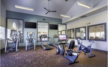 Fitness center cardio machines at Lore South Mountain Apartments in Phoenix AZ