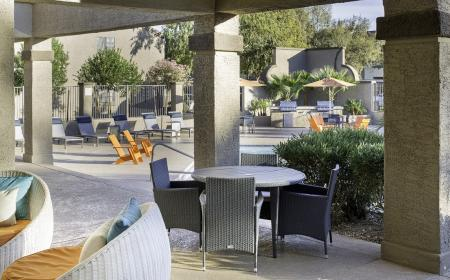 Covered patio at Lore South Mountain Apartments in Phoenix AZ