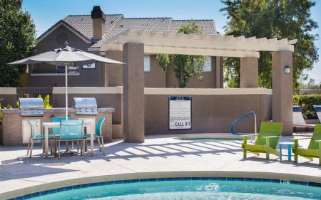 Pool grills at Array South Mountain Apartments in Phoenix AZ
