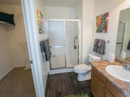 Master bathroom with attached walk-in closet at Village at Avon