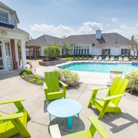 Poolside lounge spaces with WiFi at Village at Avon in Avon, Ohio