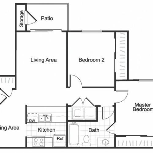 2 bedroom 1 bathroom B1 floorplan at Valley Ridge Apartment homes in Lewisville, TX
