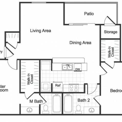 2 bedroom 2 bathroom B2 floorplan at Valley Ridge Apartment Homes in Lewisville, TX