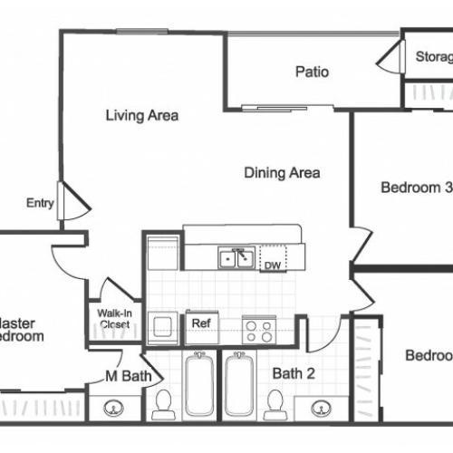 3 bedroom 2 bathroom C1 floorplan at Valley Ridge Apartment Homes in Lewisville, TX
