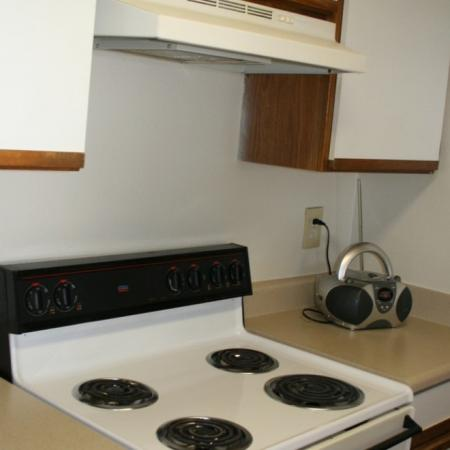Kitchen stove at Valley Ridge Apartment Homes in Lewisville, TX