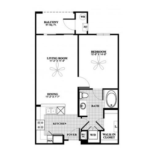 1 bedroom 1 bathroom A1 floorplan at 17 Barkley Lane Apartments in Gaithersburg, MD